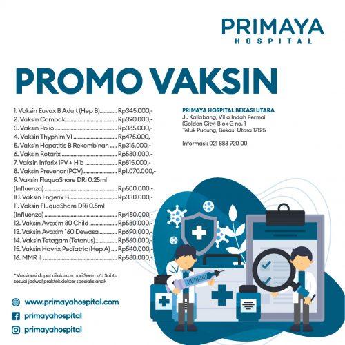 promo vaksin anak bekasi utara Primaya