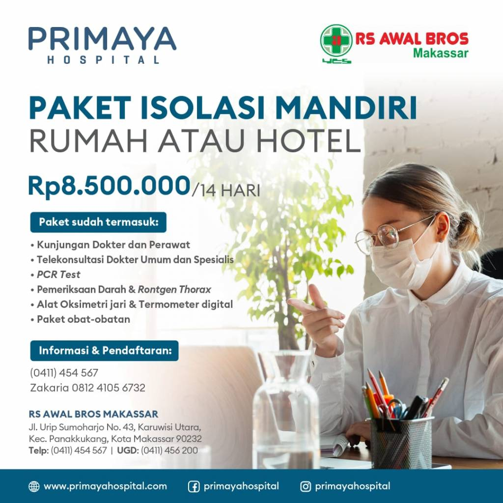 Paket Isolasi Mandiri Primaya Hospital Makassar